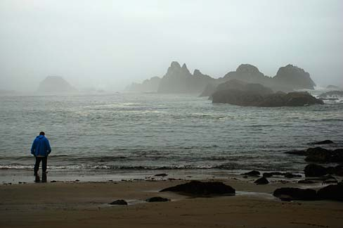 Seal Rock beach (photo by Gary Halverson, Oregon State Archives)